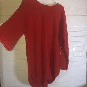 Michael Kors Reverse Knit Red Sweater Back Zip